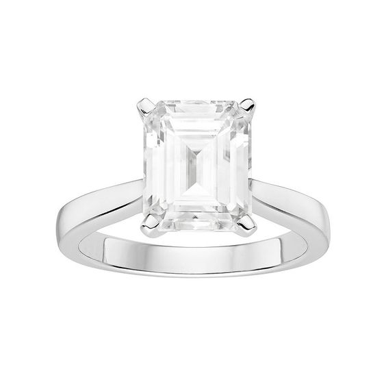 Forever Brilliant 14k White Gold 3 1/2 Carat T.W. Lab-Created Moissanite Solitaire Engagement Ring, Women's, Size: