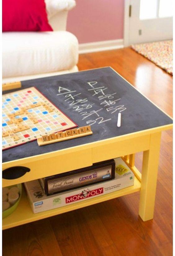 mit Kreide direkt auf den Tisch - perfekt für die Spieleabende!