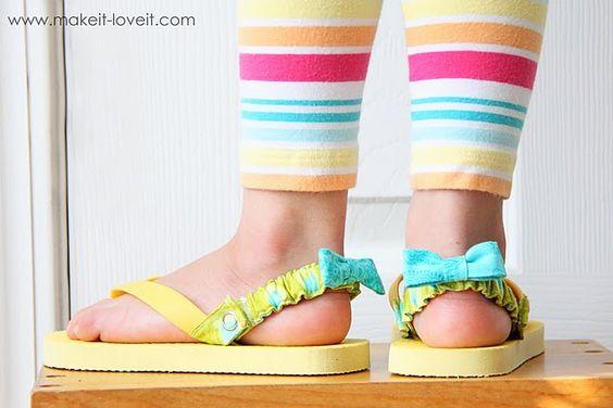 Brilliant!  DIY straps for flip flops for young girls
