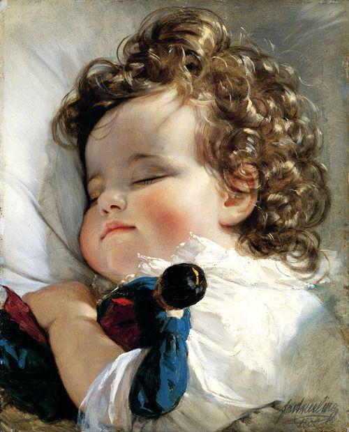 Friedrich von Amerling (1803-1887)  Portrait de la Princesse Marie   Franziska von Liechtenstein à l'âge de 2 ans