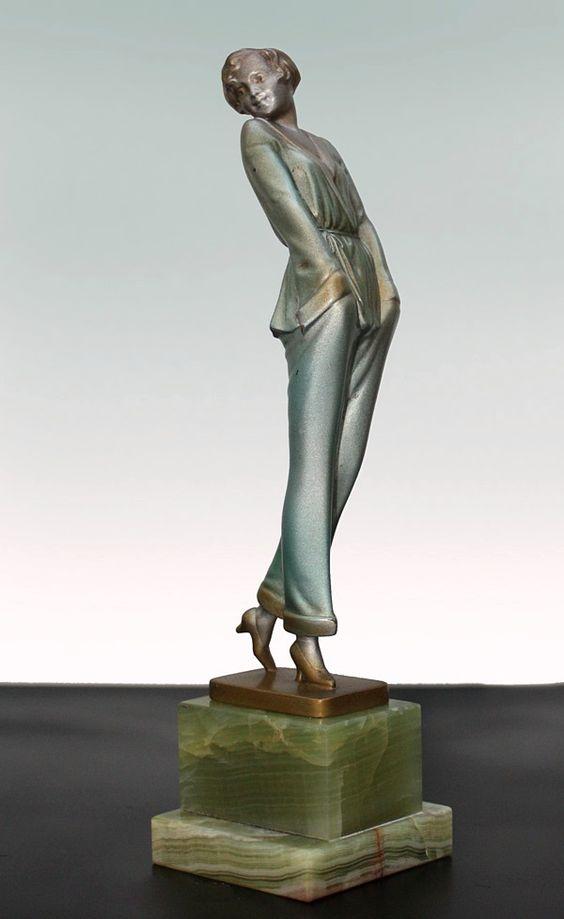 "A lovely Art Deco Austrian bronze figure by Josef Lorenzl, circa 1930 ""Pyjama Girl"""
