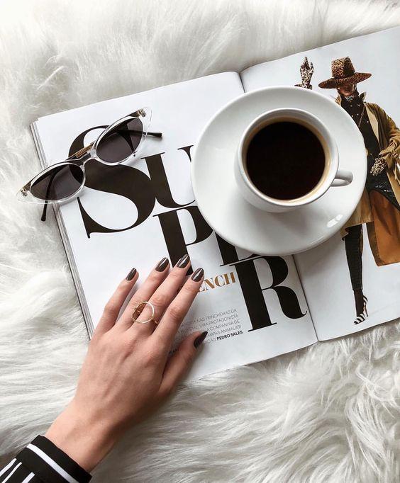 flat lay, coffee, nails, fashion. #flatlay