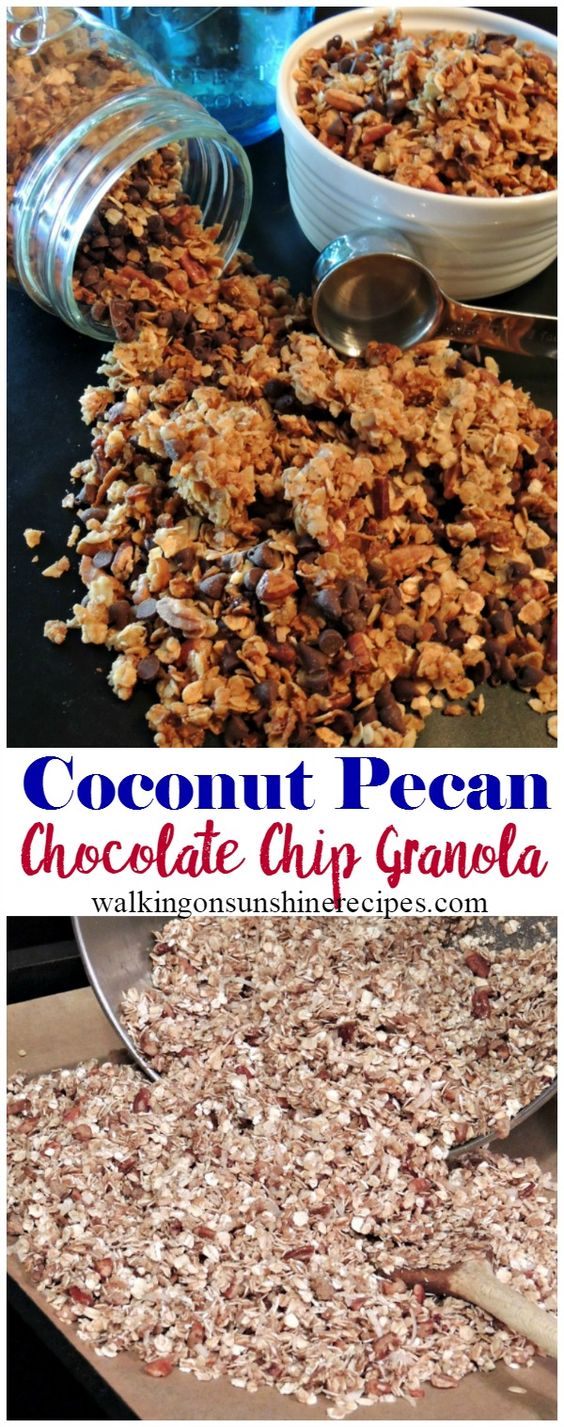 Coconut Pecan Chocolate Chip Granola Recipe from Walking on Sunshine Recipes