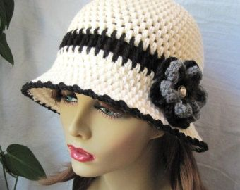 Items similar to Summer Cloche - Womens Crochet Hat - Flapper Hat - Cream Off White on Etsy