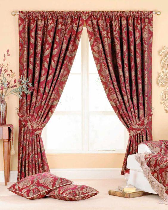 Shriaz Ready Made Curtains Burgundy   Luxury Heading   Cheap UK ...