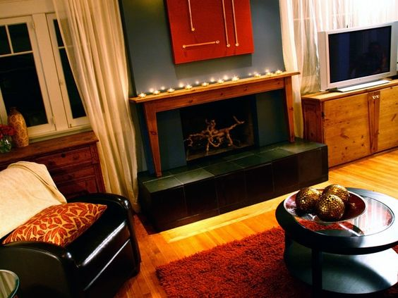The mantel used to be part of a pine table... neat!