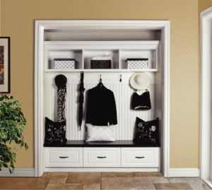 turn a closet into a mini mud room. Great for kids things so they don't forget anything going out the door