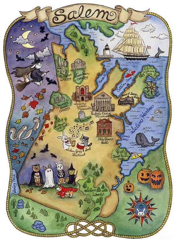 Carte de Salem Massachusetts.