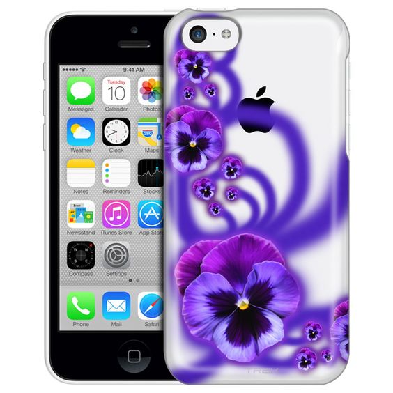 Apple iPhone 5C Painted Purple Pansies Clear Case