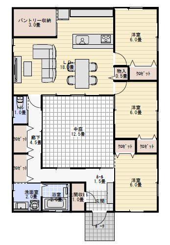 29坪3ldk中庭のあるおしゃれな平屋の間取り 平屋間取り 平面図
