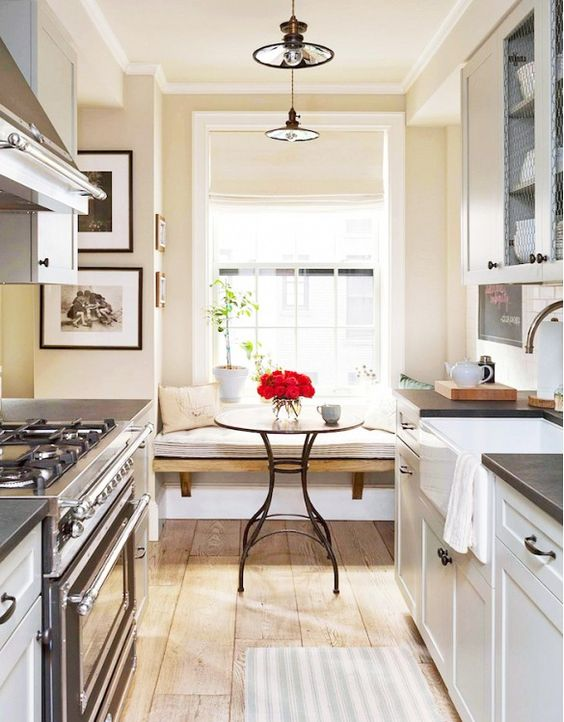 Inside a manhattan apartment with rustic charm nooks for Galley kitchen with breakfast nook
