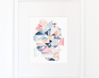 Etsy の Hexagon Shadows Watercolor Art Print by YaoChengDesign
