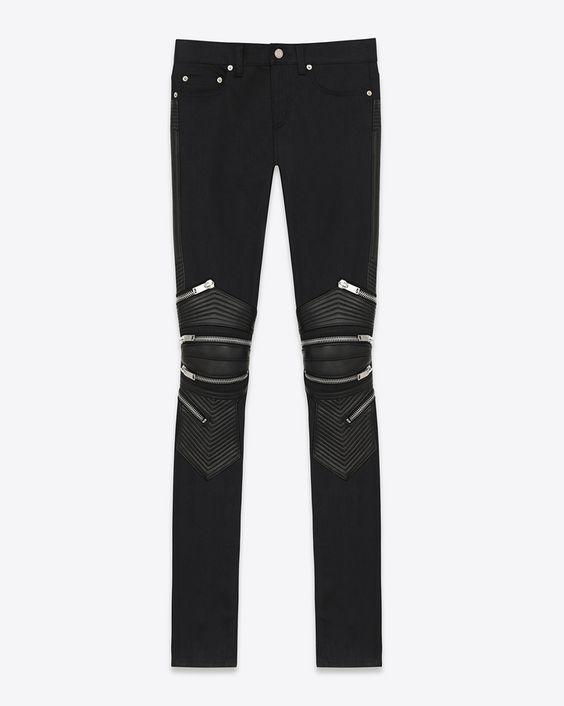 saintlaurent, Jean motard skinny taille basse en denim stretch noir