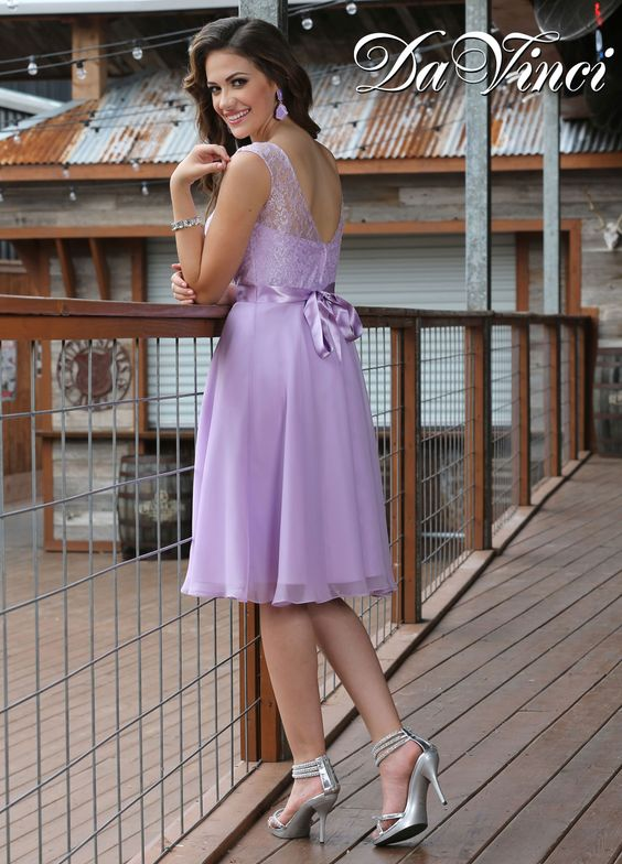 Dress your wedding party to impress in cute bridesmaid dresses with the timeless class of Audrey Hepburn with DaVinci Spring 2015 Style 60191. A lace illusion bodice with sweetheart lining and V back is accented elegantly with a satin ribbon that ties into a bow in the back at the natural waist. The flowing, chiffon A line skirt is flirty, feminine, and flattering. If you're looking for chic bridesmaid dress ideas to outfit your bridal party, 60191 comes in 500+ pretty color combos. Lilac…
