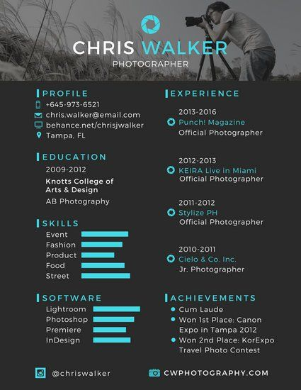 Canva Black And Blue Photographer Resume Templates By Canva E1ccf12a Resumesample Resumefor Photographie Communication