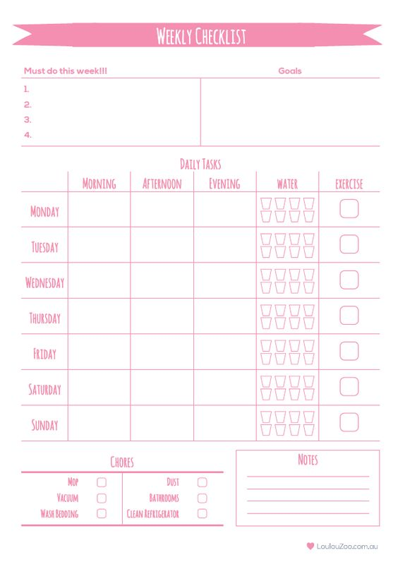 printable weekly planner to do list with Loulou Zoo