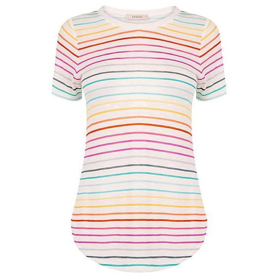 Pin for Later: Earn Your Style Stripes in These Colourful Creations Oasis Rainbow Stripe T-Shirt Oasis Rainbow Stripe T-Shirt (£18)