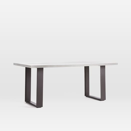 Concrete Outdoor Dining Table Weathered Gray West Elm