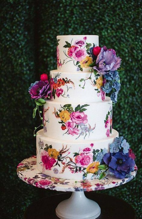 Unique Wedding Cakes You Will Fall In Love With! | wedding cake | indian wedding cake | wedding cake ideas | designer wedding cake | Wedding cakes for Indian couples | beautiful wedding cakes | Function Mania | water colour wedding cake | water ink designer wedding cake |