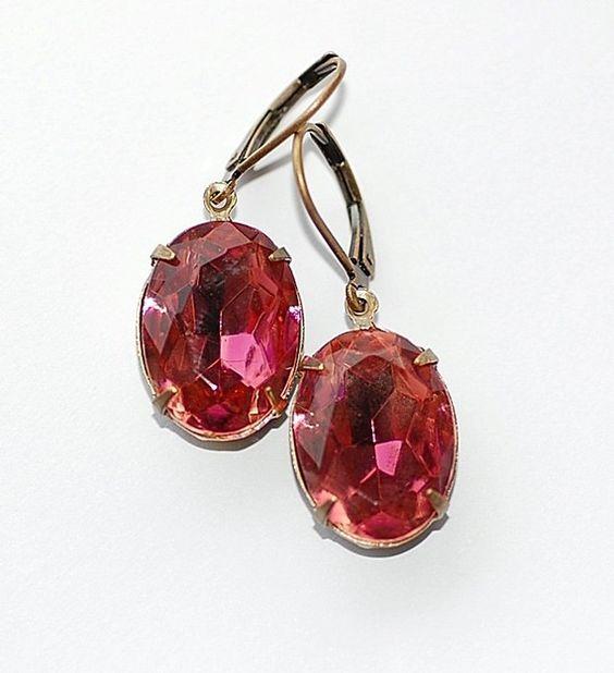 Vintage Old Rose Eatate Earrings $22