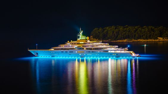 Luxury mega yacht Wallpaper, yacht, Eclipse, lights, night, island trees
