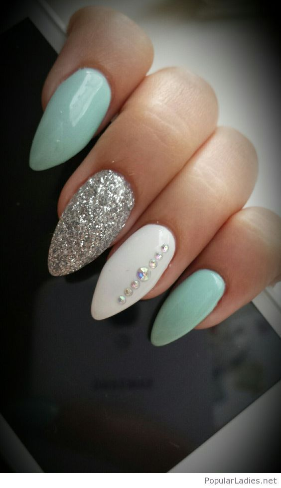 Mint Gel Nails With Details Acrylic Nail Shapes Almond Acrylic Nails Green Nails