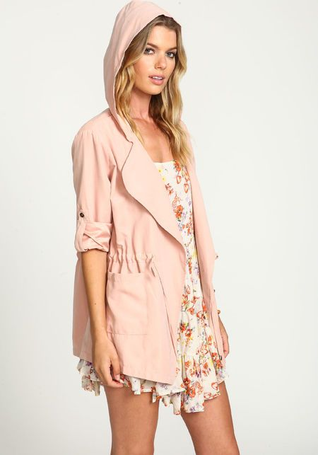 Pink Drawstring Anorak Trench Jacket DUSTY PINK | My Style