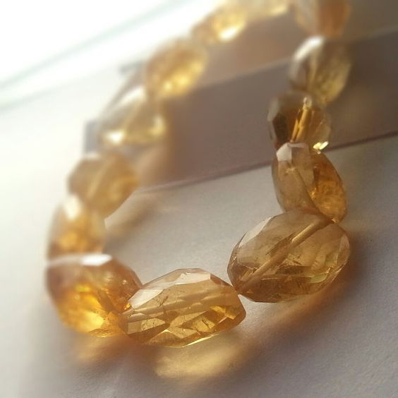 Genuine Citrine Beads Faceted Nugget Bead 15 Strand Free S&H
