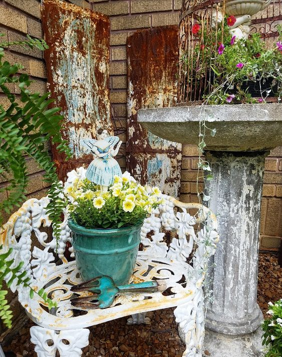 How To Add Vintage Style To Your Garden Using Thrifted Finds Country Cottage Garden Garden Garden Styles
