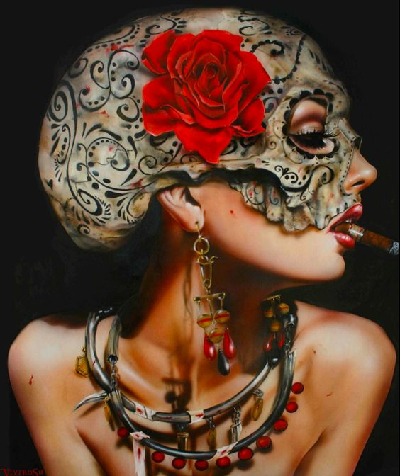 """Brian M. Viveros' stunning painting, 'Sweetest Taboo', 2012. Oil & acrylic on maple board, 24 x 26"""" in the September issue of Beautiful Bizarre Magazine - get your print or digital copy here www.beautifulbizarre.net/shop"""