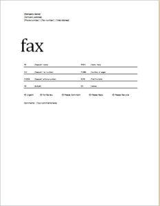 Fax Cover Sheet Standard Format Download At HttpWww