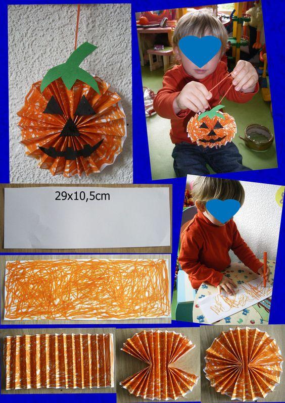 Pour commencer les activités d' Halloween voici la petite citrouille de Gaspard 27mois réalisé avec l'aide nounou. Explication : Coupez en2 une feuille blancheformat A4 ou dimension 29cm x 10,5cm,coloriez ...