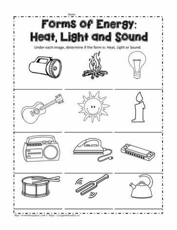 Heat Light Or Sound First Grade Worksheets Sound Energy