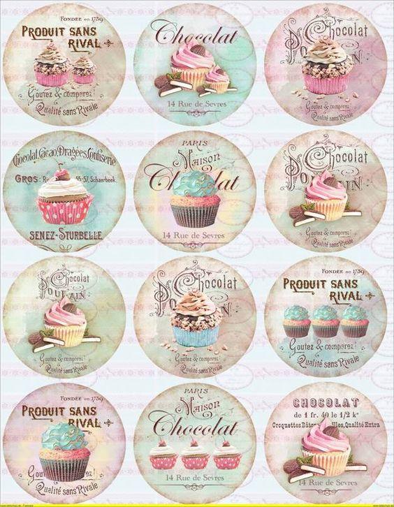 Vintage Shabby Cupcake Bügelbild Shabby Chic 1071