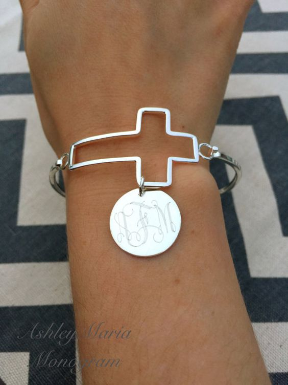 Monogram bracelet Monogram cross bracelet by AshleyMariaMonogram:
