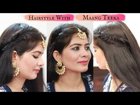 Easy Hairstyles For Wedding Hairstyle With Maang Tikka For Medium Or Long Hair Wedding Hairst Hair Styles Wedding Hairstyles For Long Hair Long Hair Styles