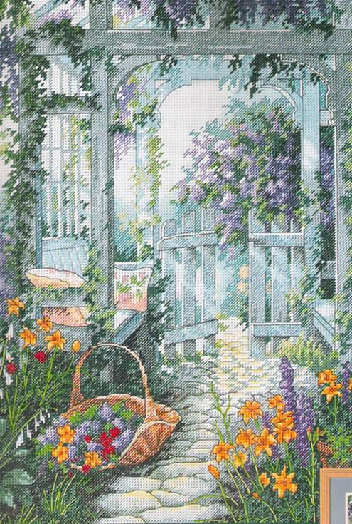 Garden gate cross stitch kit sewing and handicrafts - Punto jardin ...