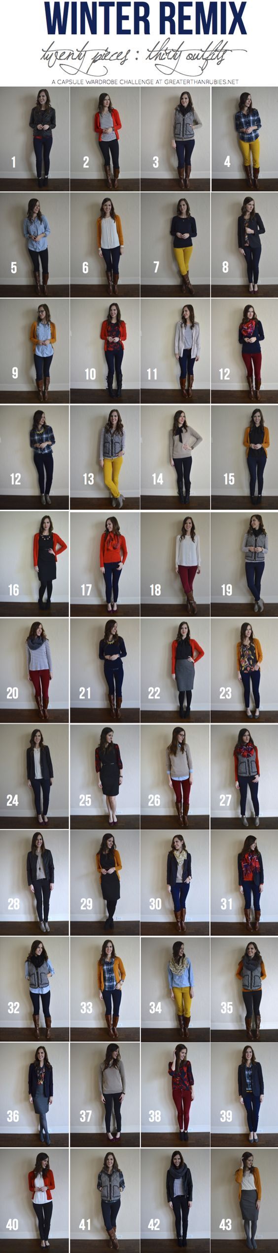 Greater Than Rubies' Winter Remix Recap {20 Pieces, 44 Outfits}:
