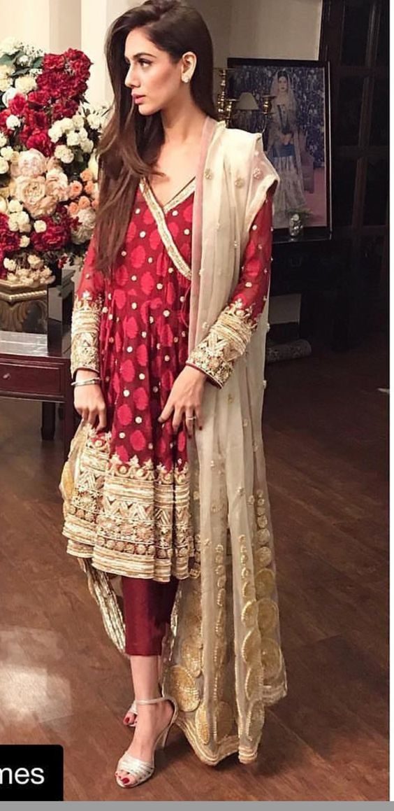 Stitching Styles Of Pakistani Dresses Red Angrakha Style