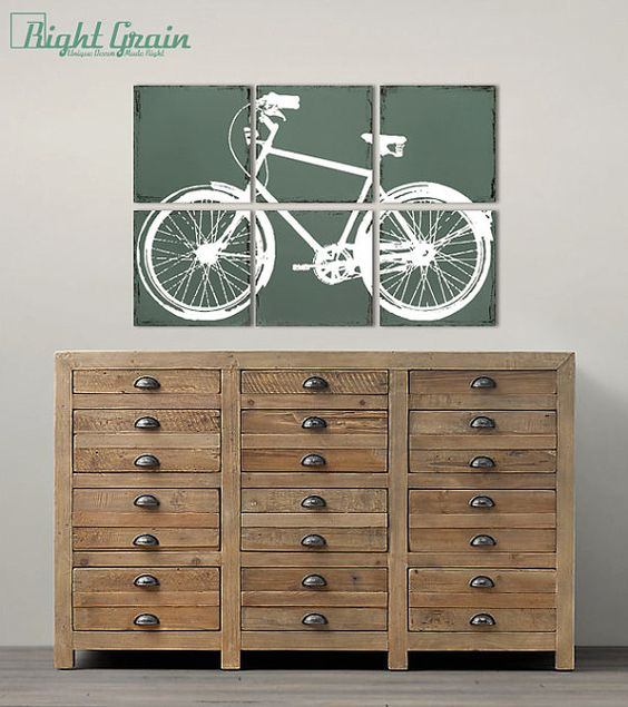 Distressed Retro Bike Painting - Large Bicycle Wall Art Custom Made Just for You: