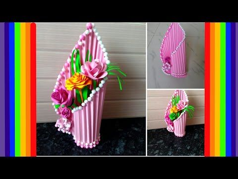 How To Make Flower Vase At Home Simple Paper Crafts Beautiful Flower Vase Youtube Flower Crafts Paper Flower Vase Easy Paper Crafts