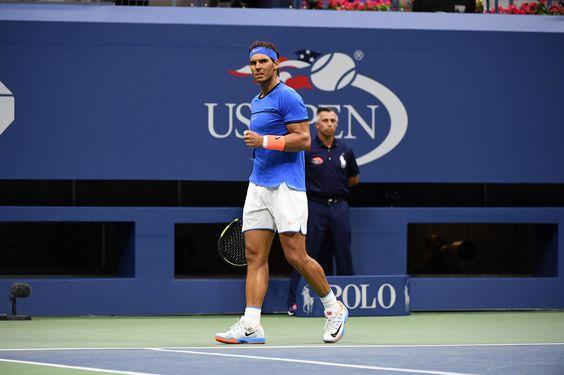 Nadal vs. Pouille September 4, 2016 - Rafael Nadal in action against Lucas Pouille during the 2016 US Open at the USTA Billie Jean King National Tennis Center in Flushing, NY.