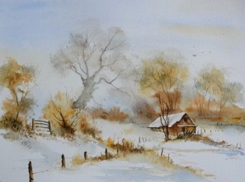 Aquarelle abby paysage neige hiver arbres barri re froid for Aquarelle facile