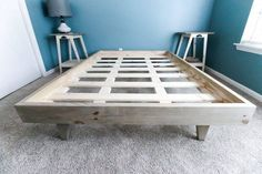 Double Full Size Modern Platform Bed Printable Pdf Woodworking Etsy In 2021 Build A Platform Bed Diy Platform Bed Frame Diy Bed