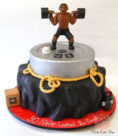 Workout Themed Birthday Cake by Pink Cake Box in Denville, NJ.  More photos and videos at http://blog.pinkcakebox.com/workout-themed-birthday-cake-2012-09-29.htm