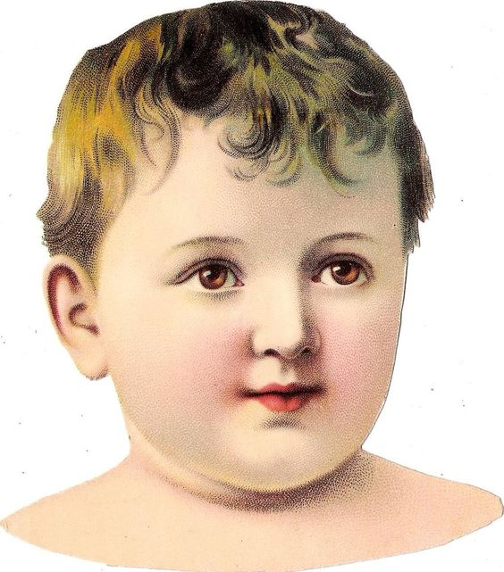 Oblaten Glanzbild scrap die cut chromo Kind  15,2cm child Baby head Kopf Knabe: