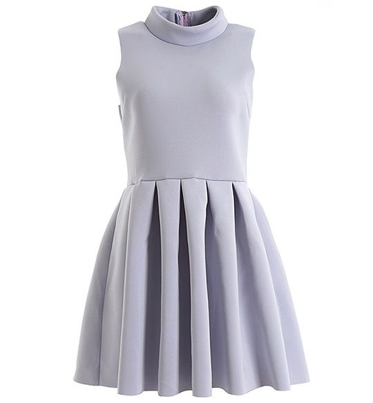 High Neck Box Pleat Skater Dress