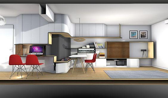 La maison france 5 cr er un bureau console tv entre une entr e et un s jour mur tv mur - Creer un bureau ...