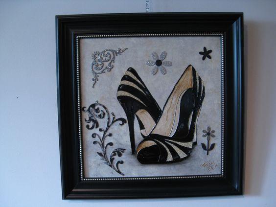 Souliers micros perles faux vitrail sur fond acrylique for Faux vitrail sur miroir