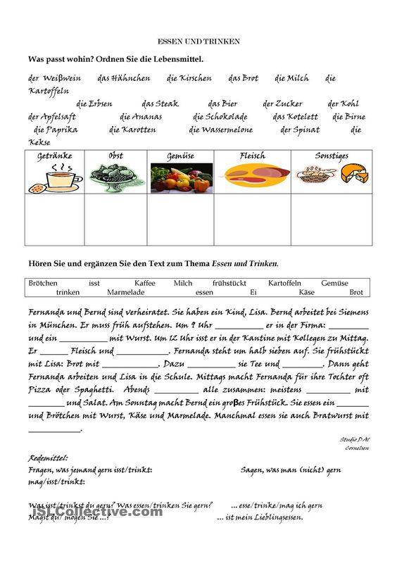 essen und trinken arbeitsblatt student centered resources essen and worksheets. Black Bedroom Furniture Sets. Home Design Ideas